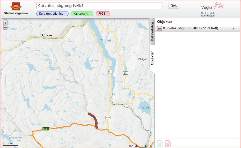 Kurvatur, stigning for FV651 mellom Rjukan og E134.