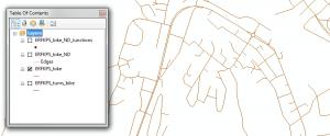 Eksempel ESRI nettverksdatasett.