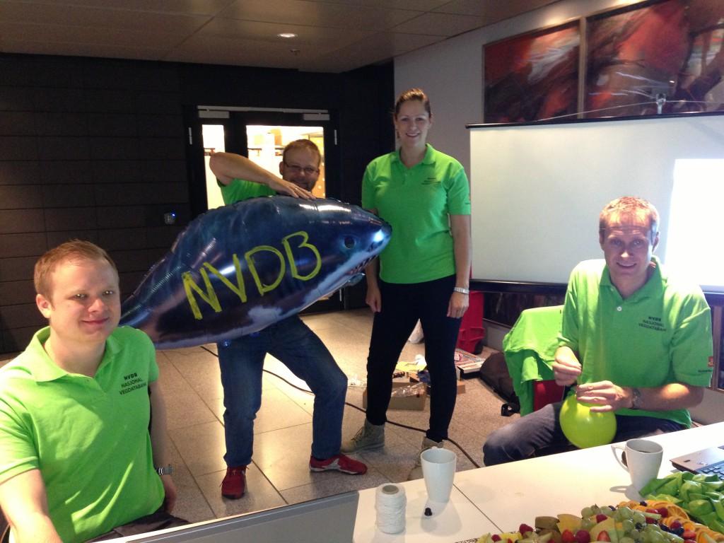 NVDB-entusiaster med husdyret sitt. F.v Magnus, Jan, Hilde og Espen.