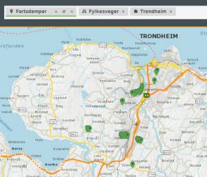 Vegkart-søk på fartsdempere langs fylkesveger i Trondheim kommune.