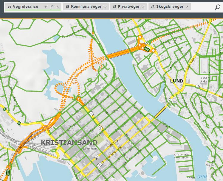 Vegkart - søk: Vegreferanse på private, kommunale og skogsbilveger i Kristiansand.