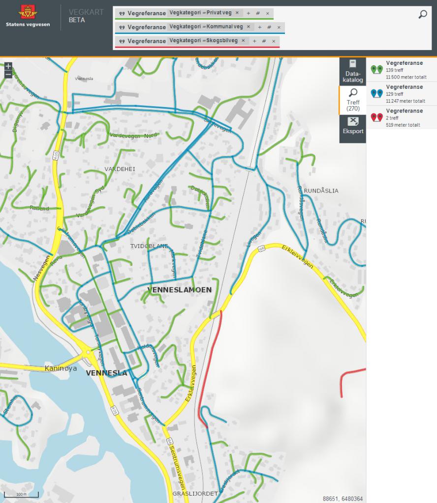 Vegkart-søk for å vise private v.s. kommunale veger - og skogsbilveger