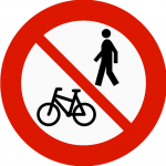 No cycling or walking