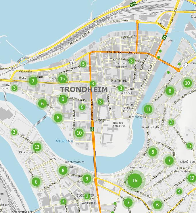 Vi har nå 1.173  parkering forbudt-skilt på kommunale veger i Trondheim (per 8.1.2014)