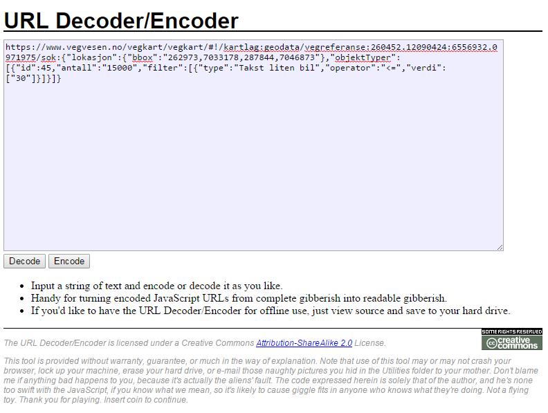 meyerweb URL encoder/decoder. Fiffig online verktøy for å oversette prosentkode-grøt til lesbar tekst.