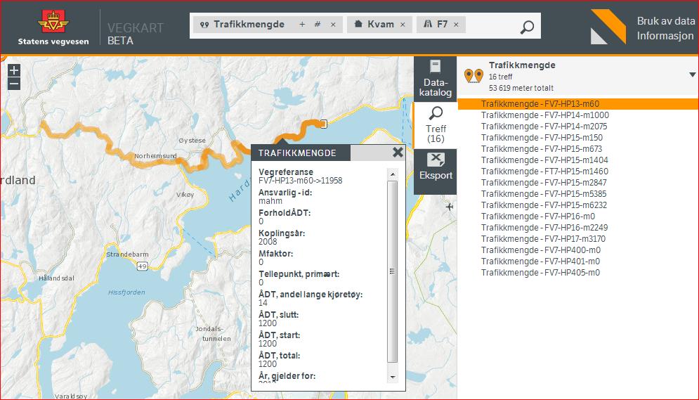 Trafikkmengde for strekning langs Fv7 i Kvam. Hovedparsell 13 fra meterverdi 60 til 11958.