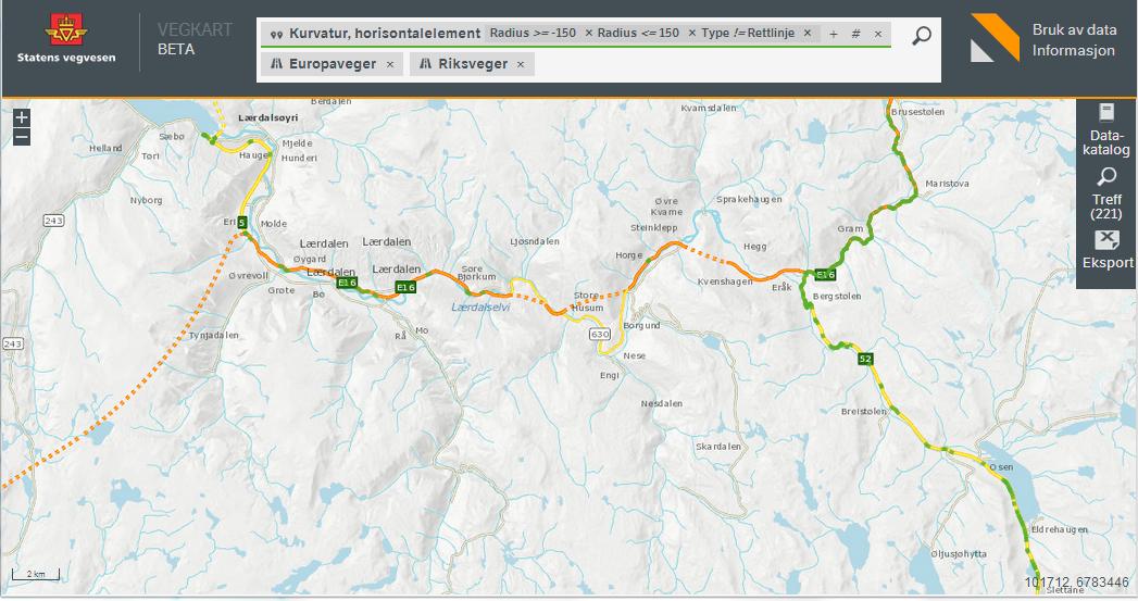 Vegkart-søk, Lærdal: Kurvatur med radius kortere enn 150 meter for Europa- og riksveger.