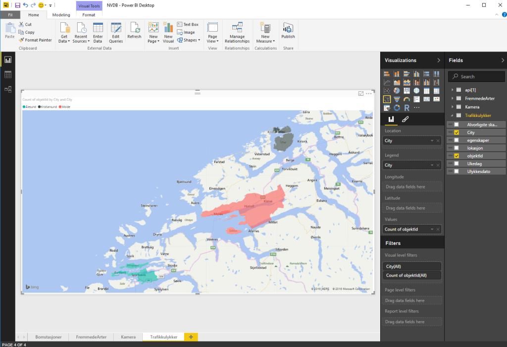 Eksempel fra hvordan man bygger visualisering / dataanalyse med NVDB data i powerBI