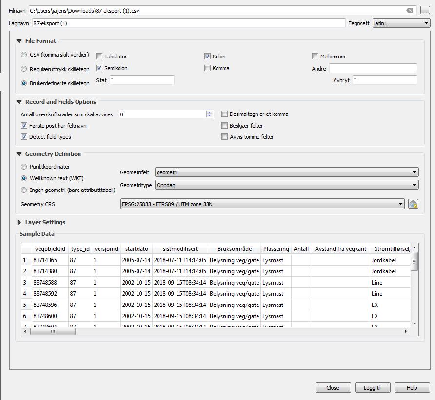 Typiske QGIS-innnstillinger for å lese inn vegkart CSV-dump