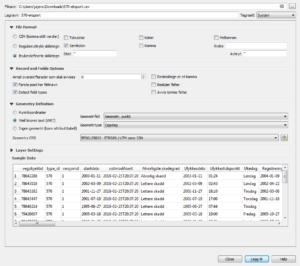 Typiske QGIS-innnstillinger for å lese inn CSV-dump fra Vegkart.