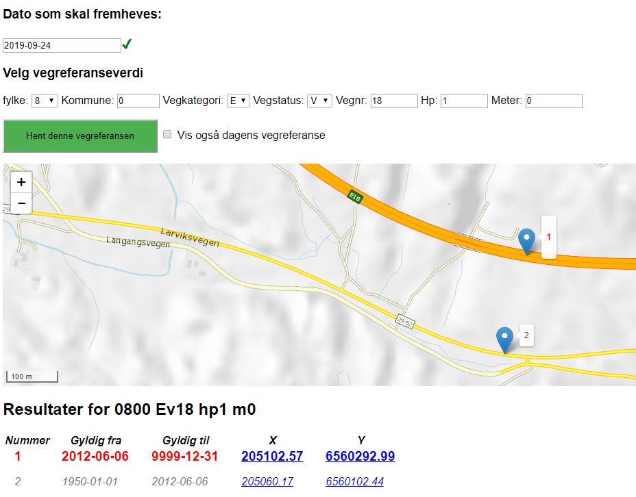 Vegrefendring søkeeksesmpel. Hvor har 0800 Ev18 hp1 m0 vært hen, til ulike tider?