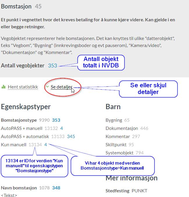 Visning av objekttypen bomstasjon i webløsningen datakatalogen.vegdata.no