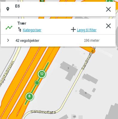 Søk etter objekttype 199 Trær på E6 ved Sandmoen, Trondheim. Pga feil i NVDB api returnerer dette søket objekter uten egengeometri. Trærne er derfor plassert midt på vegens senterlinje og ikke i terrenget