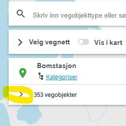 Klikk på høyrepil for å ekspandere infoboks om søket ditt