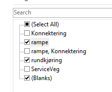 Skjermdump, eksempel på filterfunksjon i Excel. TypeVeg filtreres slik at vi kun teller de riktige vegtypene.