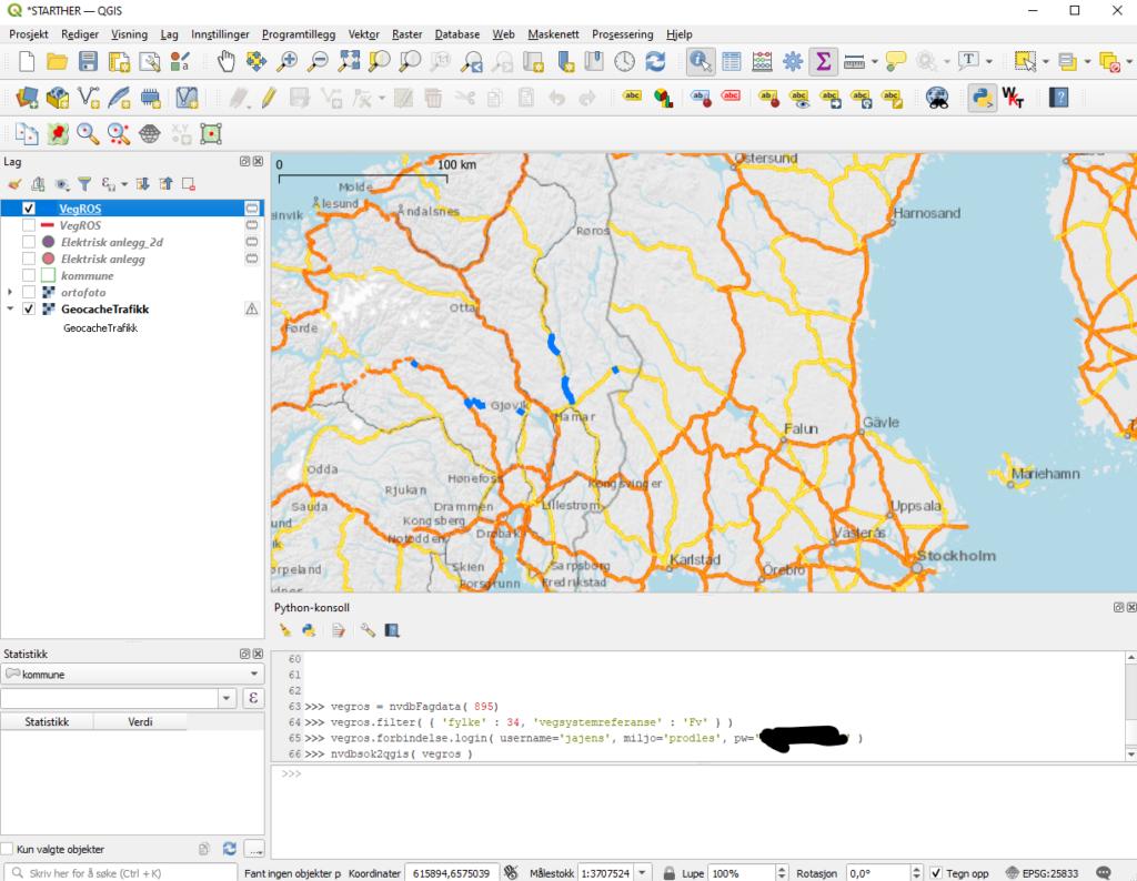 Skjermdump fra QGIS som viser hvordan du leser inn data fra NVDB api LES med et par kjappe kommandoer i python-konsollet